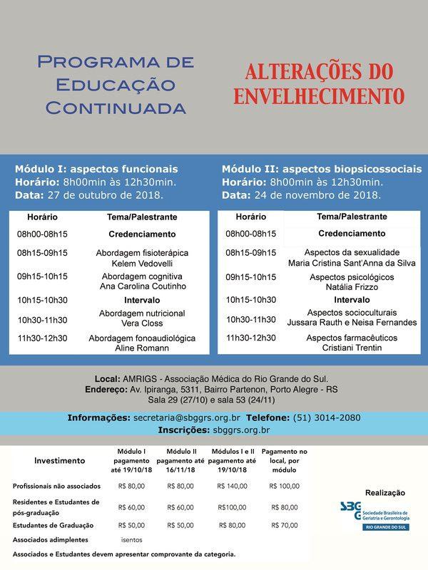 Programa de Educação Continuada: alterações no envelhecimento (27/10 e 24/11)